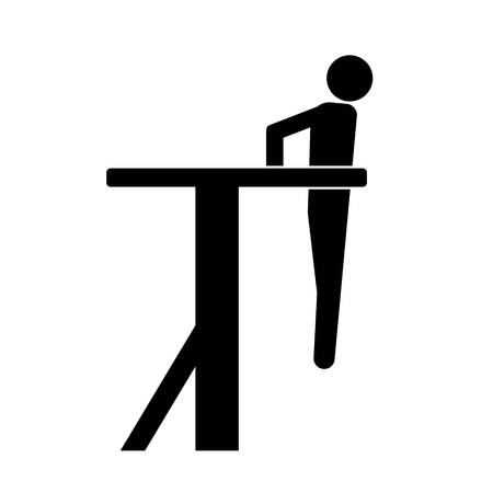 Pictogram man doing dips. Isolated vector icon from side view on white background.