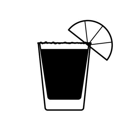 Vector tequila icon with salt and piece of lemon.