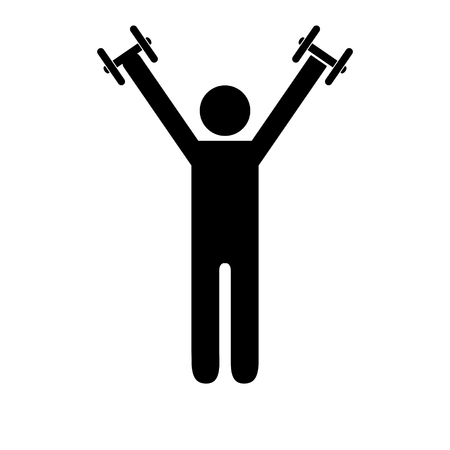 Pictogram man holding light dumbbells above his shoulders. Isolated vector on white background. Stock Illustratie