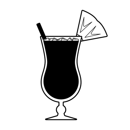 Vector summer cocktail with a piece of pineapple, a straw and ice on top. Every piece isolated.