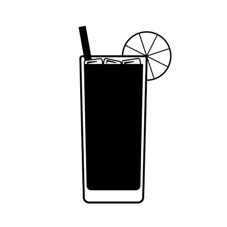 Vector Long Island drink with a piece of lemon, a straw and ice on top. Every piece isolated. Stock Illustratie