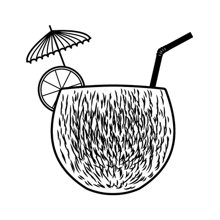 Vector coconut cocktail with a slice of orange, umbrella and straw. Every piece isolated. Stock Illustratie