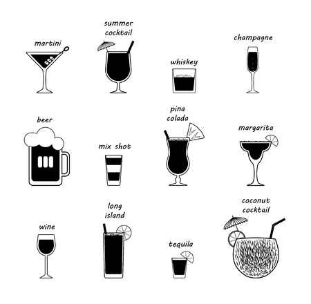 Vector popular beverage types with every piece isolated names mentioned on top of each drink.