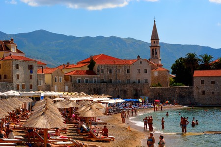budva: Tourist in Budva beach