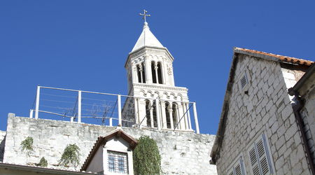domains: 1700 years old bell tower of Saint Domains church in Split, Croatia.