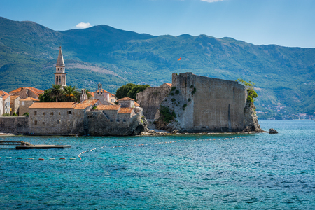 budva: Budva in summer time , Montenegro. Budva is main touristic city in Montenegro. Old city center view. Stock Photo