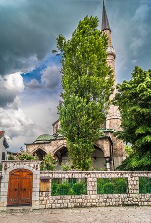 sarajevo: Bascarsija street, view at mosque in old city center, Sarajevo.