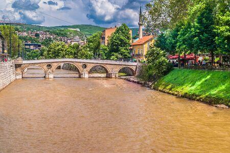 sarajevo: Sarajevo popular touristic destination, cityscape at river Miljacka. Stock Photo