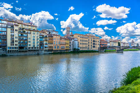 river arno: Florence cityscape with river Arno, Italy Europe. Stock Photo