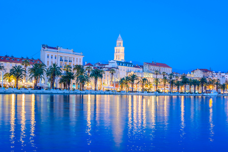 Waterfront view at coastline city of Split, touristic destination in Croatia, blue hour. Stok Fotoğraf