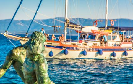 dalmatia: Touristic route across Island of Brac, Bol town, Croatia summertime.