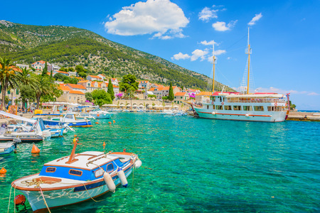 brac: View at colorful mediterranean scenic in Croatia, Island Brac, town Bol.