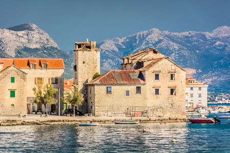 View at small mediterranean place Kastel Stari in suburb to town Split.