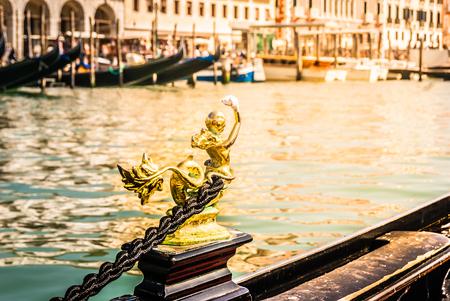 Closeup details of gondola in Venice city, Italy. Stock fotó
