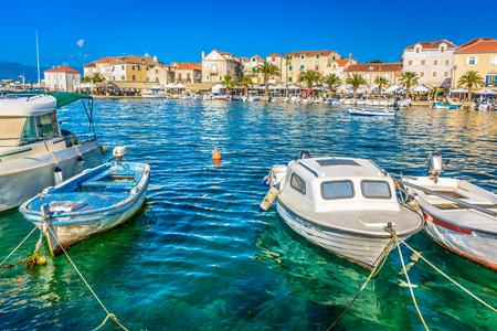 Waterfront view at promenade in Supetar, touristic destination in Island of Brac, Croatia.