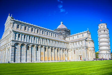 View at famous landmark Leaning Tower in Pisa, Italy.