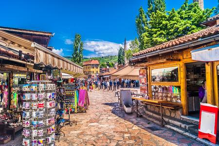 View at famous Bascarsija street in city center of Sarajevo. Stock Photo