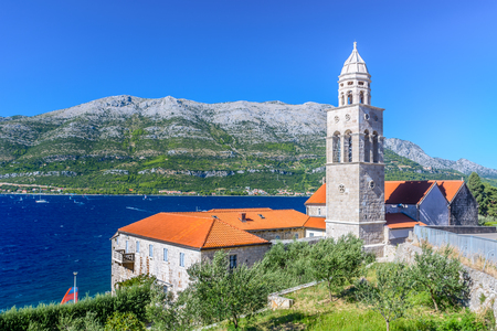 View at dominican monastery in town Korcula with Peljesac coast in background.