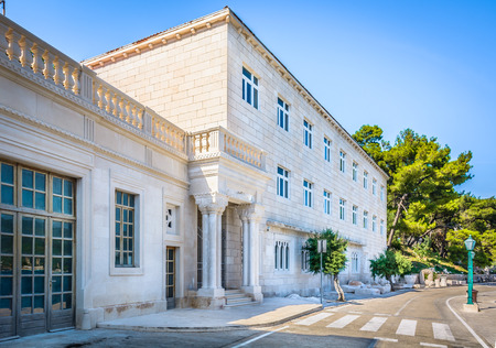 View at Stonemason school in small mediterranean town Pucisca, Island Brac, Europe Croatia. Stock Photo