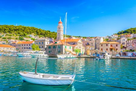 View at mediterranean scenery in one of numerous islands in Adriatic Sea, Croatia Europe. 版權商用圖片