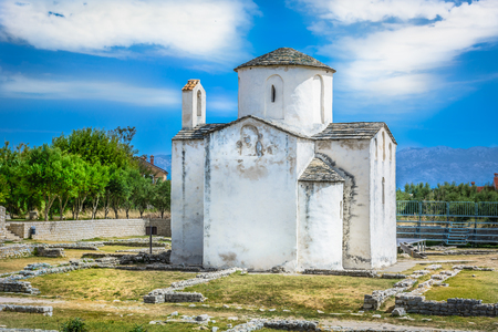 historic architecture: View at worlds smallest cathedral in picturesque town Nin, Croatia. Stock Photo