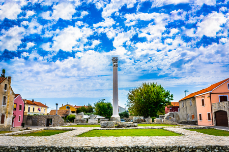 View at historic ancient Roman Temple in town Nin, Croatia. Stock Photo