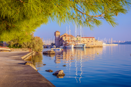 Scenic view at small town Kastela in suburb of Split city, croatian travel places.