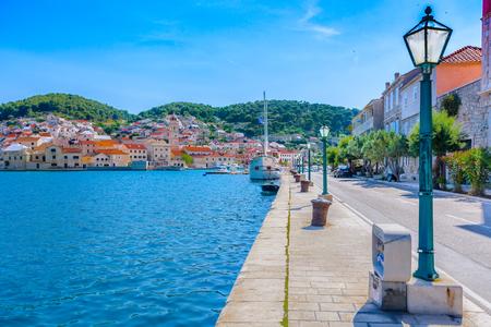 stonemason: Mediterranean place Pucisca on Island Brac, Croatia. Stock Photo