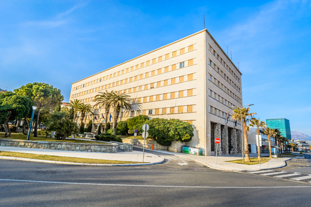 View at building called Banovina in town Split, financial and political main building in Dalmatia region. Stock Photo