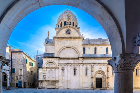 Scenic view at cathedral St. James in town Sibenik, Croatia.