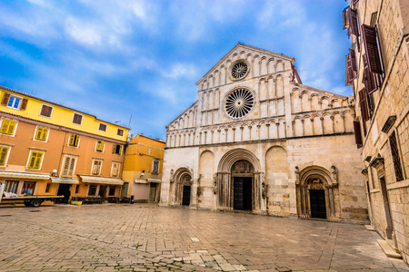 Scenic view at stone square in front of cathedral in Zadar, Croatia. Stock Photo