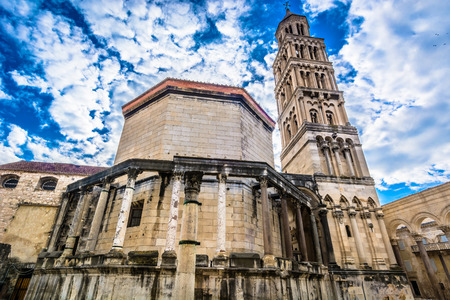 Dramatic sky over UNESCO protected cathedral in town Split, Croatia.
