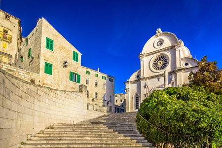 jacob: Scenic view at architecture of cathedral in town Sibenik, Croatia. Stock Photo