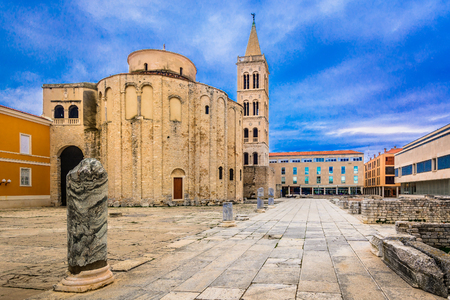 Scenic view at cathedral in town Zadar, popular sightseeing spot in Croatia, Europe.