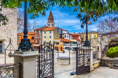 Scenic view at public Five Wells square in Zadar town, Croatia. Stock Photo