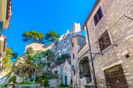 Scenic view at ancient fortress in town Omis, Dalmatia region, Croatia. Stock Photo