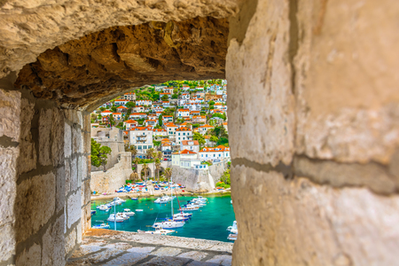 Aerial view from old fort at marina in town Dubrovnik, mediterranean scenery in Croatia, Europe.
