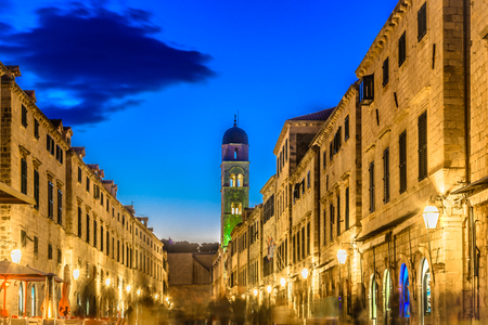 Marble evening view of old famous street Stradun, travel resorts in Croatia. Stock Photo