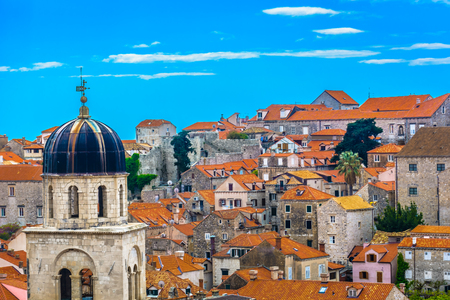 Aerial cityscape of Dubrovnik place, Europe travel destination.