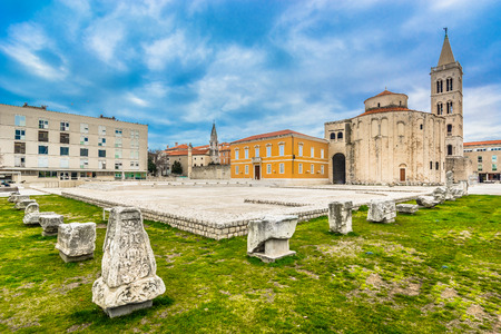 Outdoors public view at old roman forum in Zadar town, Croatia.