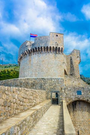 srd: Scenic vertical view at Minceta tower in Dubrovnik, Croatia. Stock Photo