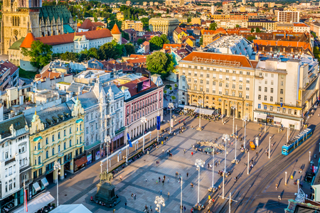 baroque: Aerial view on main square in Zagreb town, Croatia.
