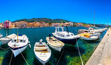 Mediterranean summer panorama in Croatia, Island Hvar scenery in Dalmatia region, Europe.