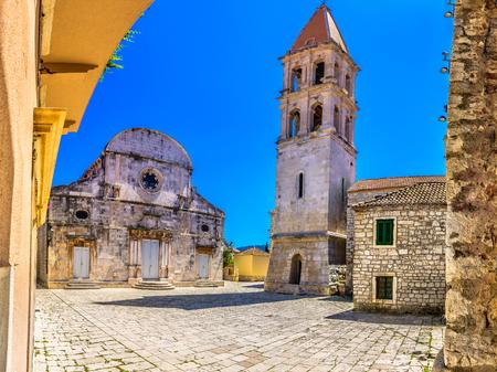 Old ancient architecture in Starigrad, Island Hvar scenery in Dalmatia region, Europe.