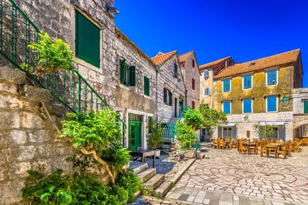 Marble colorful scenery in Dalmatia region, Island Hvar summertime, Croatia.