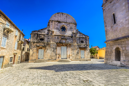 starigrad: Old stone square architecture in Starigrad, Island Hvar, Croatia famous travel places.