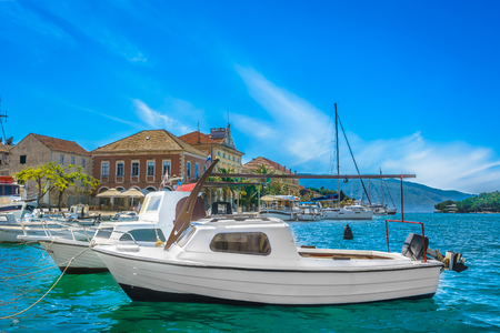 Waterfront adriatic scenery in Croatia, Island Hvar, famous croatian travel resort.