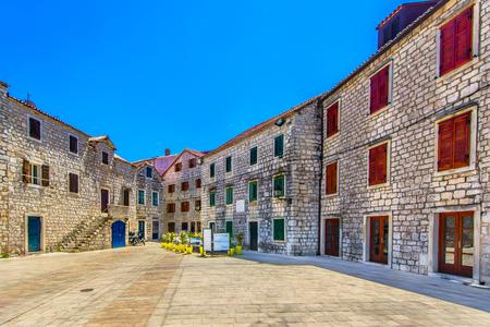 Unique square as a touristic attraction on Island Hvar, Croatia.