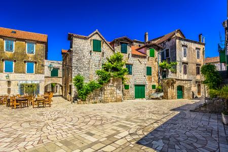 Marble adriatic old stone square in Dalmatia, Croatia.