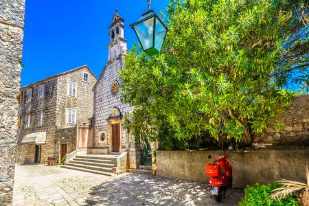 Mediterranean old street in Dalmatia region, island Hvar scenery.